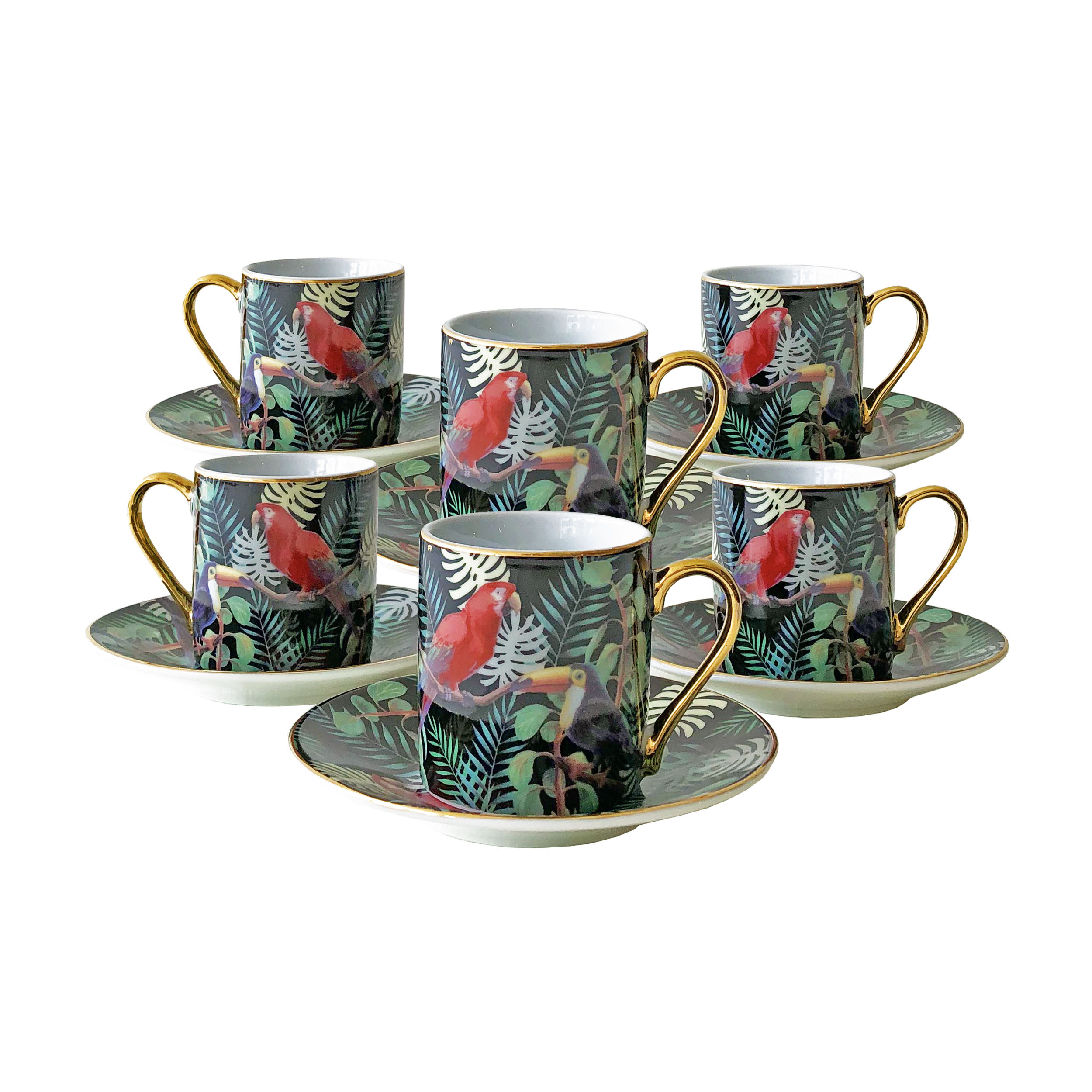 Tropical Espresso Cup and Saucer Set – Box of Six