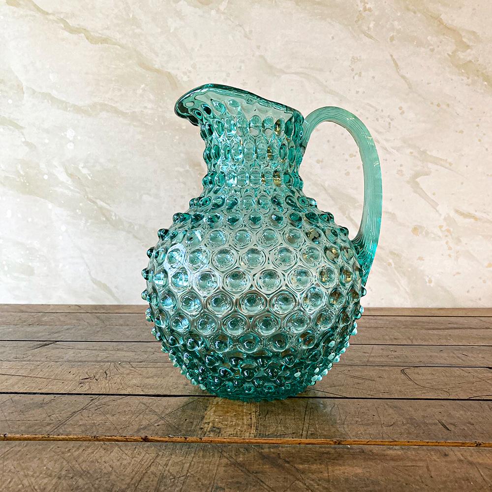 Hobnail Glass Jug Sea Green