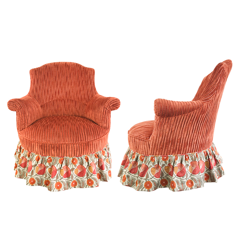 Pair of Antique French Chairs in Terracotta