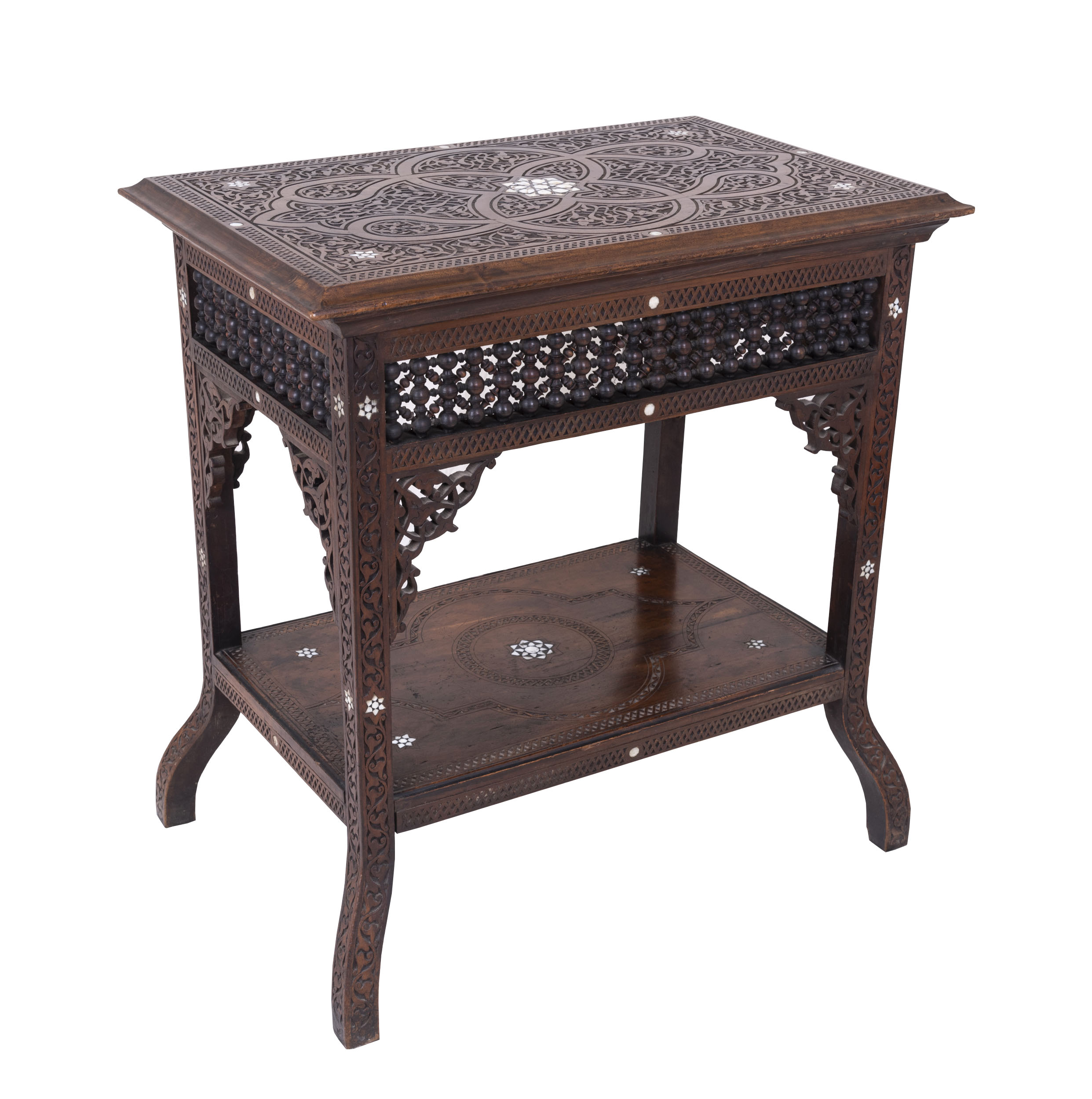Antique Syrian Two Tier Side Table