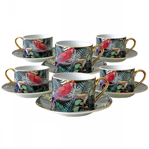 Tropical Cup and Saucer Set – Box of Six