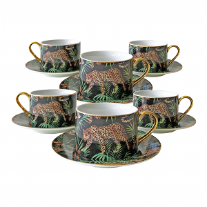 Jungle Leopard Cup and Saucer Set – Box of Six