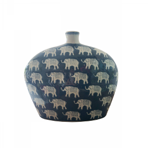 Indigo Elephant Vase