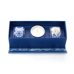 Castelbel Portus Cale Gold & Blue Candle - Set of Three