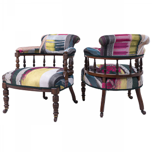 Antique Library Chairs in Christian Lacroix Fabric - Pair