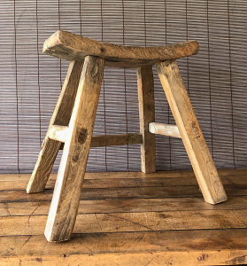 Antique Elm Curved Top Stool - Medium