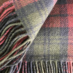 Cashmere Mulberry and Forest Green Plaid Throw