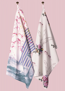 Toile and Ticking & Flamingo Bloom Pair of Tea Towels in Teal Blush