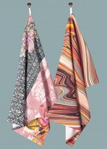 Wild Things & Marbellous Pair of Tea Towels in Teal Blush