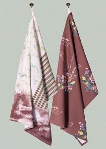 Toile and Ticking & Flamingo Bloom Pair of Tea Towels in Chocolate Orange