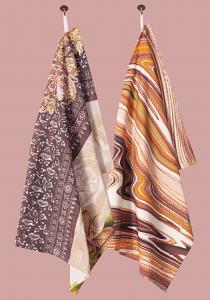 Wild Things & Marbellous Pair of Tea Towels in Chocolate Orange