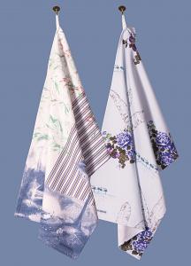 Toile and Ticking & Flamingo Bloom Pair of Tea Towels in Aqua Denim
