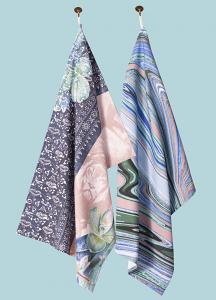 Wild Things & Marbellous Pair of Tea Towels in Aqua Denim