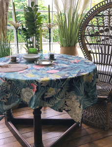 Palm Chintz Night Tablecloth