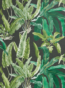 Nina Campbell Benmore Wallcovering in Green and Black